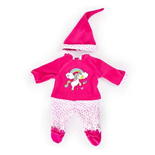 Bayer Design- Ropa 33 a 38 cm, Accesorios para muñeca, Pantalones, Top y Gorra, Conjunto, Traje con Unicornio, Color rosa, blanco (83890AA) , color/modelo surtido