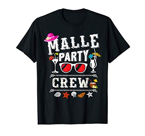 Malle Party Crew Outfit Buntes Mallorca Urlaub Design T-Shirt