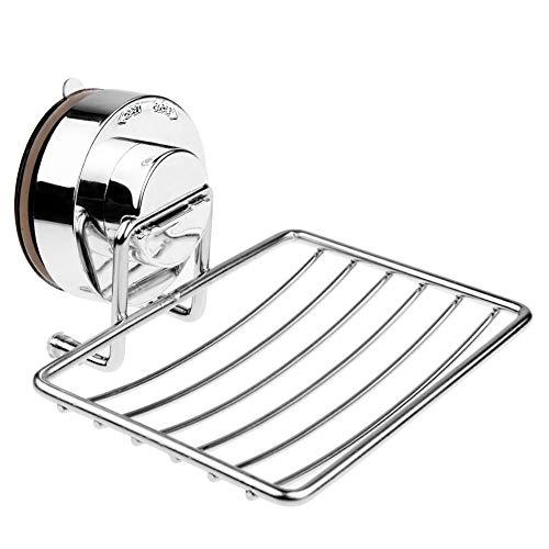 Seifenschale aus Edelstahl,Seifenhalter Seifenablage mit sehr starkem Saugnapf zu Küche Bad,Silber