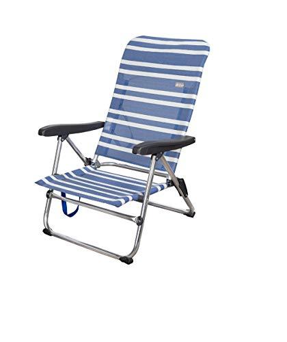 AKTIVE 62601 Silla Plegable Azul a Rayas 5 Posiciones Beach