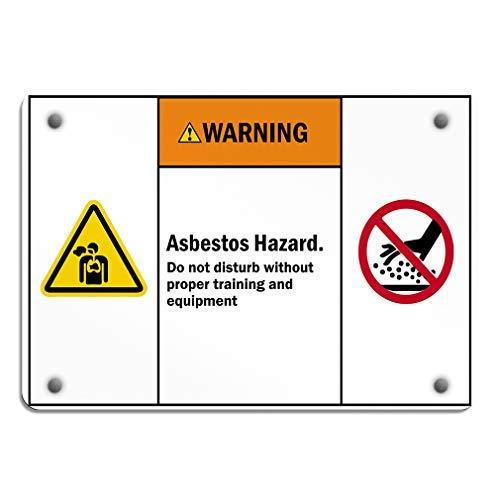 Waarschuwing Asbest Gevaar doen juiste training en apparatuur Aluminium Weerbestendige Metalen Teken Horizontale Straat Tekenen 20 x 30 Metalen Decor Metalen Tin Tekenen Outdoor Teken Verjaardag Gift Grappig Teken Muur Art Decoratieve