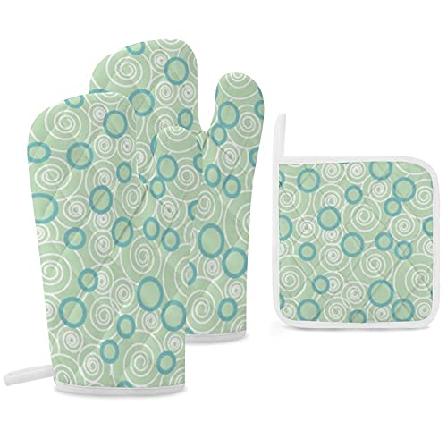 Juego de 3 soportes para ollas y guantes de horno, resistentes al calor, para cocinar y hornear, verde menta, verde azulado, azul
