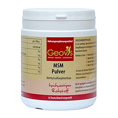Geovis - MSM Pulver 500g - organischer Schwefel - Hochdosiertes 99,9% reines Methylsulfonylmethan - Gelenke, Haare, Allergie- VEGAN - Nahrungsergänzung