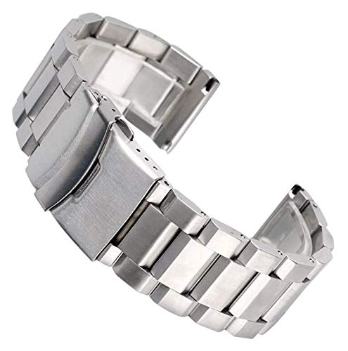 ZJSXIA 18/20/22 / 24mm Silver Link Link Watch Strap Strap Acero Inoxidable Reemplazo de Lujo Pulsera Reloj Ajustable Bandas Reloj Mira Correa Correas de Reloj (Size : 22mm)