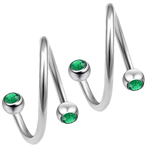 3pc 12mm 1/2 Twisted Barbell Spiral Nose Ring Twist Pierced Earrings Ear Piercing Cartilage Jewellery Industrial Earring Rings Lip Screw Surgical Helix Tragus Daith Navel Belly Emerald