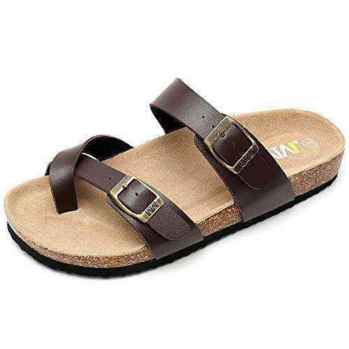 WTW Women Leather Sandals Arizona Slide Shoes (US 9, Brown)