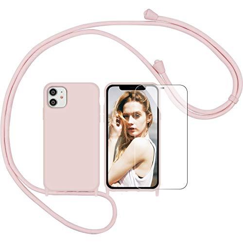 Nupcknn Funda Silicona con Cuerda para iPhone 11, Carcasa Suave Silicona Case con Correa Colgante Ajustable Collar Correa de Cuello Cadena Cordón(Oro Rosa)