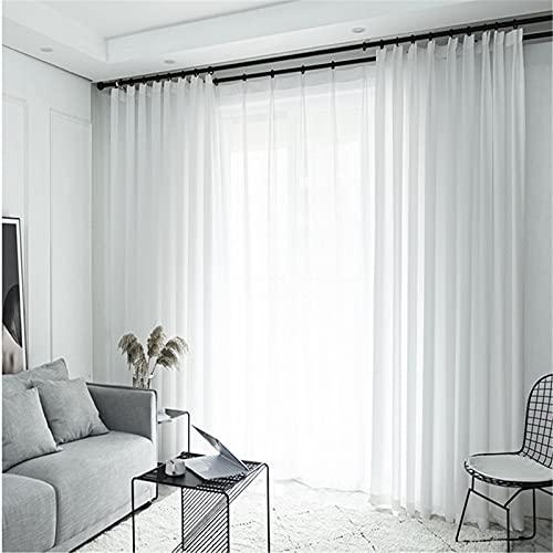 FACWAWF Weiße Fenstervorhänge Im Japanischen Stil Durchscheinendes Polyester, Gaze Wohnzimmer Schlafzimmer Balkon Kinderzimmer Weich Und Glatt 2x79x106in(200x270cm) WxH