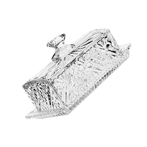 Angoily Plato de Mantequilla de Vidrio con Tapa Plato de Mantequilla Rectangular Cubierto de Cristal Caja para Guardar La Mantequilla Recipiente de Comida