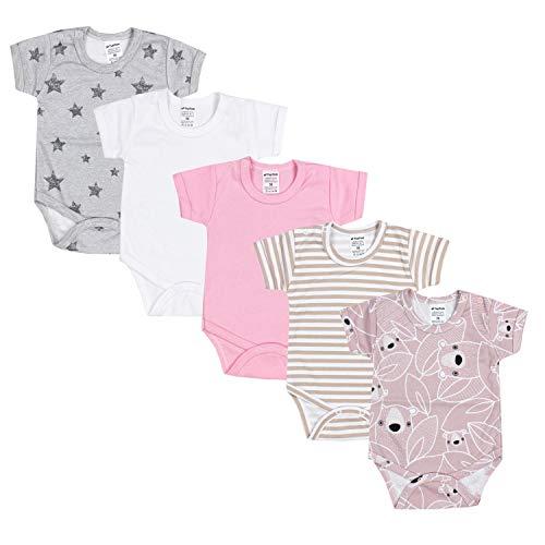 TupTam Mädchen Baby Body Kurzarm in Unifarben - 5er Pack, Farbe: Farbenmix 3, Größe: 92
