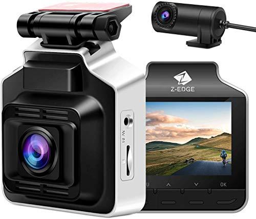 Z-Edge GPS Dashcam Dual Autokamera Ultra HD 1440P mit Rückkamera 720P 2,4 Zoll LCD Bildschirm, 150° Weitwinkelobjektiv, Loop-Aufnahme, Eingebauter G-Sensor