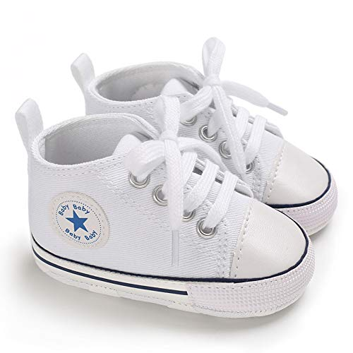 Baby Boys Girls Star High Top Sneaker Soft Anti-Slip Sole Newborn Infant First Walkers Canvas Denim Shoes (6-12 Months, HY-Baby-W) White