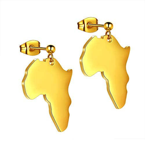 Hipunk African Map Necklace Earring Men Women 316L Stainless Steel Africa Pendant 18k Gold/Black Gun Plated Fahion Dainty Jewelry