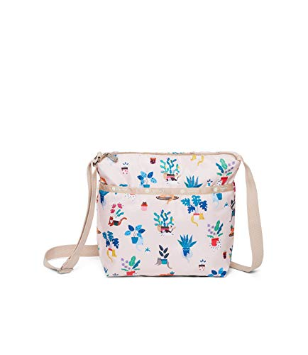 LeSportsac Comfy Cats Small Cleo Crossbody Handbag, Style 7562/Color F645 Colorful Playful Cozy Kittens and Cats Amid Floral Designs, Light Pink Iridescent Sheen Bag