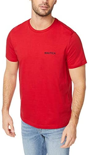 Nautica Men s Short Sleeve Crew Neck T Shirt red Solid Large product image