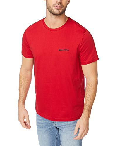 Nautica Men's Short Sleeve Crew Neck T-Shirt, red Solid, Large