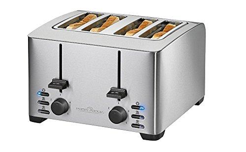 ProfiCook PC-TA 1073 4-Scheiben-Toaster, Edelstahlgehäuse, 2x Brötchenaufsatz, stufenlos einstellbarer Bräunungsgrad,...