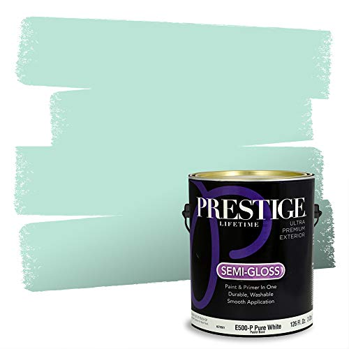Prestige, Greens and Aquas 7 of 9, Exterior Paint and Primer In One, 1-Gallon, Semi-Gloss, Mint Frost