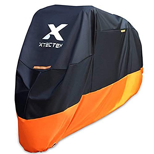 XYZCTEM Motorcycle Cover – All Season Waterproof Outdoor Protection – Fit up to 116 inch Tour Bikes, Choppers and Cruisers – Protect Against Dust, Debris, Rain and Weather(XXXL,Black& Orange)