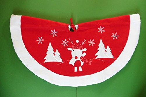 CHRISTMAS ROK - rood met witte rand - REINDEER DESIGN - 91CM