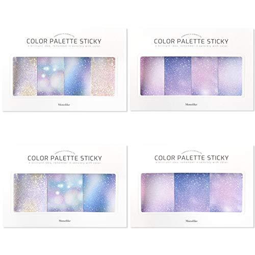 モノライク カラーパレットスチーキ グリッター Color palette Sticky Glitter セット 4p - デザイン1個あたり30シート、粘着メモ