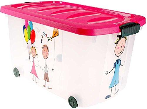 Eliware Spielzeugkiste (Multibox) mit Rollen | Kinder-Muster und pinken Deckel
