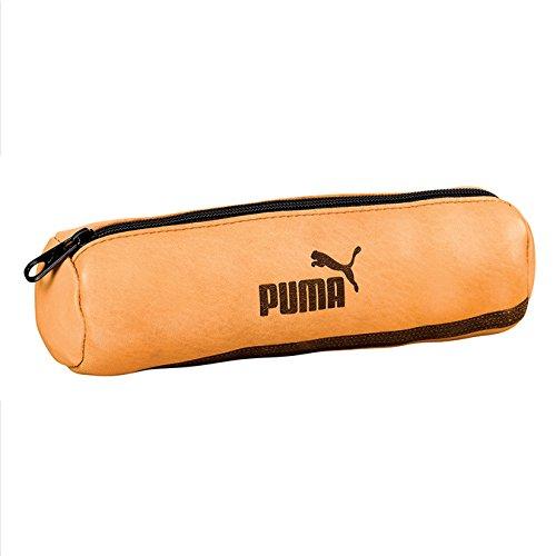 PUMA Origin - Trousse Ronde Scolaire en Cuir - 22 x 7 - Marron