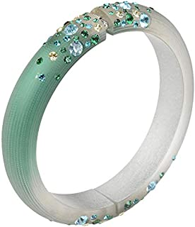 Chic Emerald Green Resin Bangle with Cubic Zirconia Detail