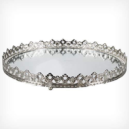 Clic-And-Get Specchio Rotondo con Cornice Corona Parete Specchio Vassoio Decorazione Tavolo Specchio, Nuovo, Vetro, Antracite, Ø 28 Centimetri