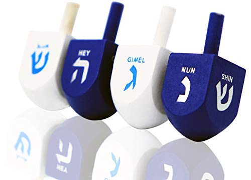 Sale!! Hanukkah Dreidel Bulk Solid Blue & White Wooden Dreidels Hand Painted - Game Instructions Inc...