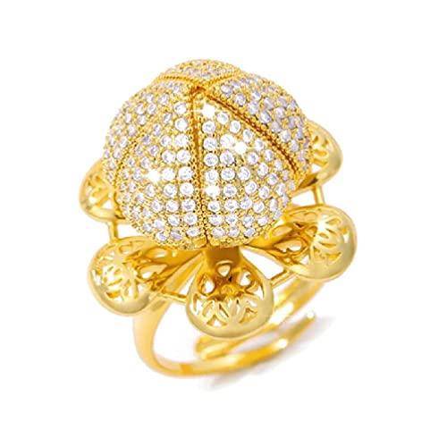 OWENRYIN Anillo de oro rosa/plata de lujo con diamante personalizado, anillo abierto abierto que se puede girar alrededor del anillo abierto.
