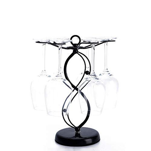 Countertop Wine Glass Holder - Freestanding Tabletop Stemware Storage Rack Metal Glasses Display Rack Black with 6 Hooks …