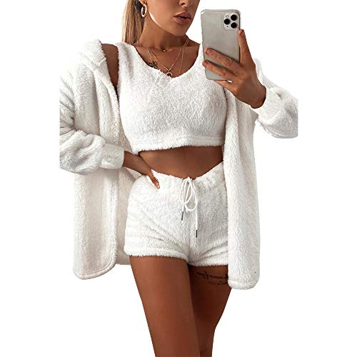 Damen-Fleece-Outfit, gemütlich, flauschig, Mantel, Jacke, Wollriemen, bauchfreies Top, Shorts, 3-teiliges Set Gr. Medium, weiß