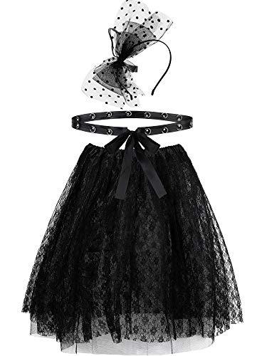 Juego de accesorios para disfraz de los años 50/ 20, incluye diadema con lazo negro, falda de encaje y cintura fina para mujeres y niñas