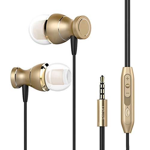 PTron MAGG Auricolare per Smartphone Cellulare Tablet PC iOS Android iPhone in-Ear Headset con Jack Universale 3.5 mm con Microfono e con Funzione di Attenuazione Rumore (Gold)
