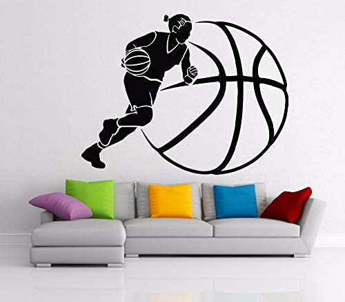 yaonuli Muursticker basketbal sport muur decoratie vinyl decoratie kamer verwijderbare jongen persoon wanddecoratie