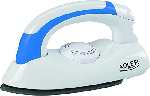 adler AD 5015 Plancha de Viaje, 800 W, 0 Decibeles, Plastic, Blanco/Azul