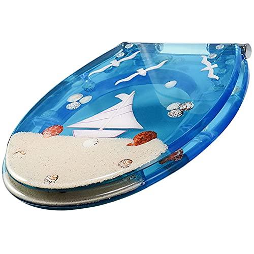 YHMT Tapa WC Universal con Función de Cierre Suave y Bisagras Ajustables 360°,Asiento WC Desmontaje Rápido y Limpieza,Material de Resina Ecológico (Color : Blue Sailboat)