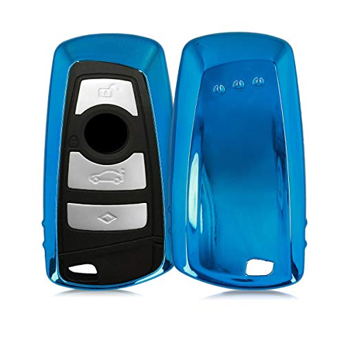 kwmobile Custodia copri-chiave compatibile con BMW con 3 tasti controllo remoto (solo Keyless Go) - Cover chiavi auto in silicone TPU - Guscio elastico protezione azzurro brillante