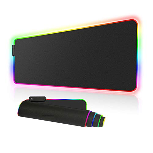 RGB Large Gaming Mouse Pad - 10 Light Modes Oversized Glowing Led Extended Mousepad, High Speed Tracking Surface Non-Slip Rubber Base (80x30 RGBhei)