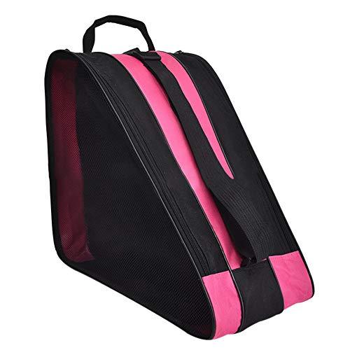DAZISEN Skate Bag - Traspirante Borsa per Pattini da Ghiaccio e Pattini Roller per Bambini, Rosa, 39 * 20 * 38cm