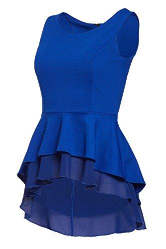 Laeticia Dreams Damen Bluse Schößchen S M L XL, Farbe:Royalblau, Größe:42