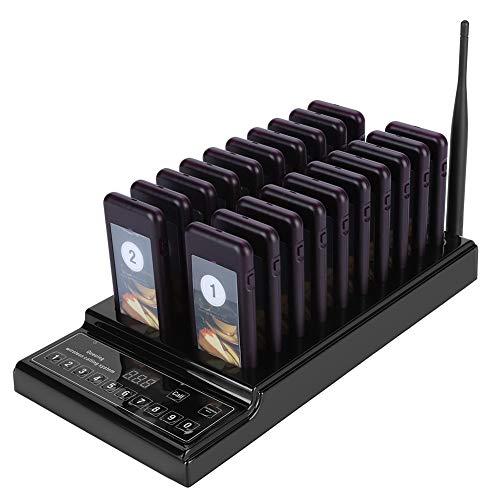 Oumij Sistema de Localizador de Invitados 433.92MHz Sistema de Localizador de Invitados 999 Canales 20 Receptores Sistema de...