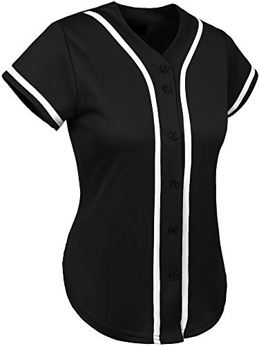 Hat and Beyond Womens Baseball Button Down Athletic Tee Short Sleeve Softball Jersey Active Plain Sport T Shirt (Medium, 3up01 Black/White)