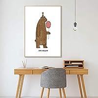 漫画の保育園の壁の芸術のポスター、バルーンベア動物のキャンバスの絵画北欧スタイル、赤ちゃんの子供部屋の家の装飾50X70Cm,Poster Art,Prints