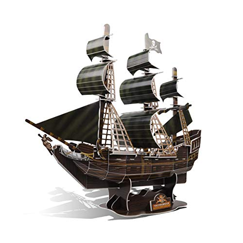 GuDoQi 3D Puzzles for Boys Girls Adults, Pirate Ship Jigsaw Puzzles, 3D Paper Model Kit to Build, Family Games for Little Kids and Parents, DIY Assembly Toy Gift for Birthdays Christmas, 104 Pieces