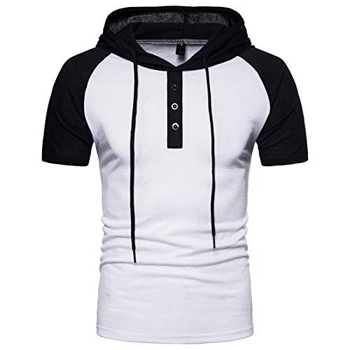 JPDD Men Summer T-Shirt Hipster Hip Hop Lightweight Hoodies Drawstring Short Sleeve Buttons Patchwork Pure Color Polo Shirts Casual Classic Sweatshirt Hooded Tops Pullovers Men Short Sleeve