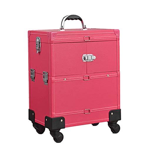 Maquillage Valise professionnel Trolley Bagages cosmétiques étuis avec 4 roue universelle et miroir haute capacité stockage Nail boîte de coiffure,3