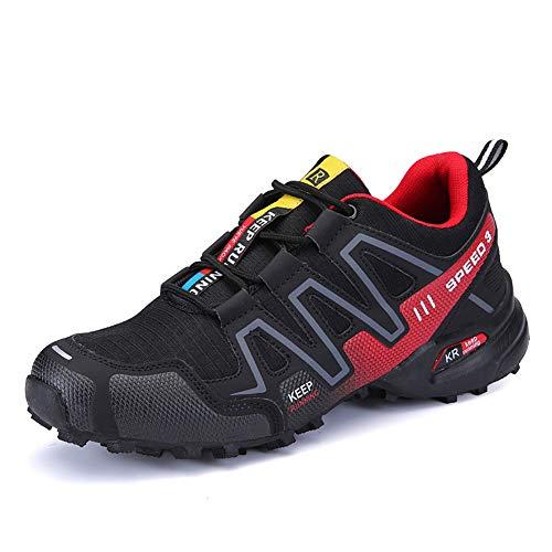 Zapatillas Trekking Hombre Zapatillas Senderismo Transpirable Antideslizante Al Aire Libre Zapatillas de Deporte Rojo 41