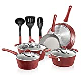 NutriChef Nonstick Cookware Excilon |Home Kitchen Ware Pots & Pan Set with Saucepan, Frying...